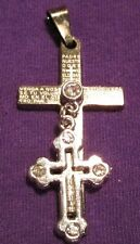 Double Cross Jewelled with Spanish Our Father Prayer Padre Nuestra