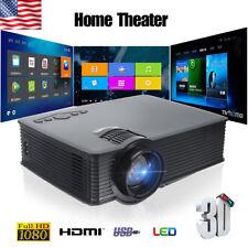 8000LM 1080P Full HD Smart 3D Projector Wifi LED USB Home Theater HDMI VGA Balck