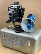 Simmon Bros. Omega 120 Camera w/ Turret flash ,90mm Wollensak Omicron & USN Case