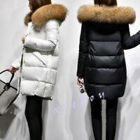 Fashion Women's Duck Down Faux Fur Hooded Winter Warm Thicken Coat Jacket Parka