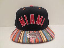 MITCHELL & NESS NBA MIAMI HEAT NATIVE STRIPE CANVAS SNAPBACK CAP HAT NWT