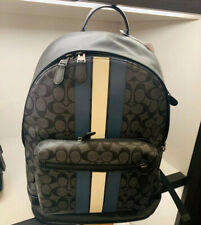 Nwt Coach Men's West Backpack In Signature Canvas With Varsity Stripe