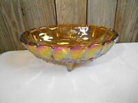 "VTG 12"" Indiana Glass Iridescent Carnival- Amber Harvest Grape Footed Fruit Bowl"