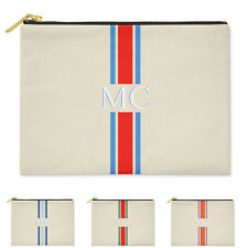 PERSONALISED CLUTCH BAG MONOGRAMMED WITH INITIALS STRIPED COTTON CANVAS POUCH