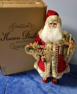 "Karen Didion Santa Claus Christmas Elegance Reg & gold 19"" CC18-20"