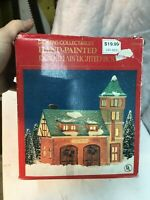 Dickens Collectible Lighted Fire Station Christmas Porcelain House