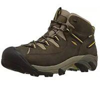 KEEN Mens Targhee Mid Waterproof Hiking Boots Black Olive/Yellow 1002375 7M NIB