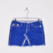 $172 True Religion Destroyed Distressed Frayed Cut Off Denim Jean Mini Skirt 26