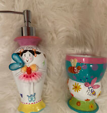 New 2 Piece Kids Girls Set Toothbrush Toothpaste Holder Soap Dispenser Fairy