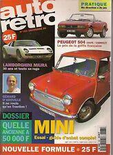 AUTO RETRO 183 MINI 1000 MK3 LAMBORGHINI MIURA PEUGEOT 504 COUPE & CABRIOLET