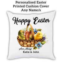 PERSONALISED NAME Happy Easter Bunny Gift Pillow Cushion Cover Custom Print 0001