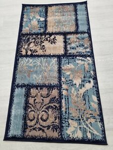 Quality Rug BLUE BEIGE 80 x 150 cm Soft Touch Living Room Turkish Carpet Rugs