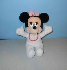 "14"" Older Disney Mattel Arcotoys Minnie Mouse Rattle Stuffed Plush w/ Bib"