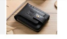 BULLCAPTAIN: Mens High Quality Leather RFID Credit Card Wallet Billfold - Black