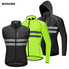 Mens Windproof Hooded Jacket Cycling Hiking Jersey Reflective MTB Bike Coats