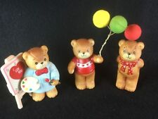 3 Vintage Enesco Lucy & Me Bear Figures Balloons Love You 1980's