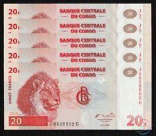 CONGO 20 Francs X 5 PCS 1997 P-88A Printer HDM 1/20 Bundle UNC Uncirculated