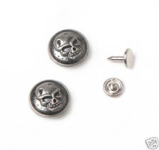 10 sets 17mm NO-SEW Replacement Jean Tack Metal Buttons  Antique silver skull