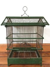 Vintage Antique Victorian Boho Green Wood Rustic Metal Wire Bird Cage Decor 19""