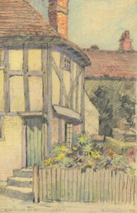 George William Collins (1863-1949) - 1939 Crayon, House at Oxted, Kent