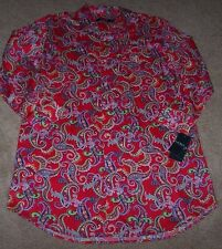 NWT Ralph Lauren RED FLORAL PAISLEY Sleep Shirt LUXE Cotton Sateen Gown 1X NICE!