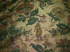 "~11 4/8 YDS~ 100% SILK~CHINOISERIE""CHINESE FISHERMAN~UPHOLSTERY FABRIC FOR LESS~"