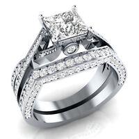 Art Deco Vintage 1.20 Ct Princess Cut Diamond Engagement Ring Set 14k White Gold