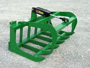 "48"" Root Rake Grapple Bucket Attachment Fits John Deere Tractor Loader, Green"