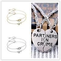 Silver Broken Heart Partners in Crime Best Friend Pendant Necklace Bracelet Set