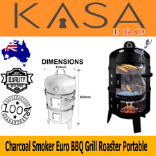 Euro Grille 4in1 Charcoal Smoker BBQ Grill Roaster Moveable Steel Steamer