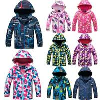 Kids Boys Girls Winter Warm Hooded Coat Jacket Fleece Wind/Windproof Outwear