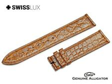 Crocodile Alligator Leather For ZENITH Watch Light Brown Strap Band Buckle/Clasp