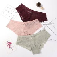 3 Pack Women Lady Sexy Lace Briefs Floral Shorts Panties Underwear Knickers New