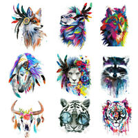 Wolf Lion Tiger Feather Patches Iron on Clothes Stickers DIY Thermal TranFB