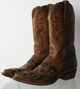 Corral Vintage Ornate Cowboy Boots In Brown Leather Size 8 with faux snake skin