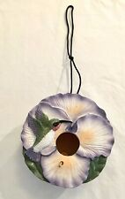 Birdhouse w Perch and Cord Ceramic and Wooden features Hummingbird & Flower Nwot