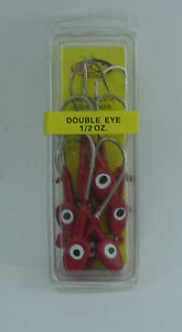 H&H Lures D1210-01 Double Eye Saltwater Jigheads 1/2 oz Red 10CT 24517