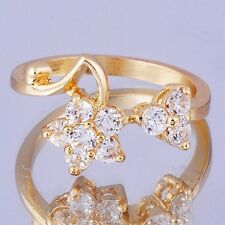 Fabulous Cubic Zirconia Flower Yellow Gold Filled Womens Ring Size 8#D7295