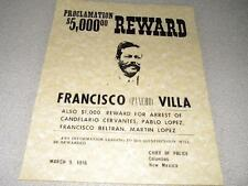 "PONCHO VILLA WANTED POSTER ON 24 POUND PARCHMENT PAPER  SIZE IS 8 1/2"" x 11 """