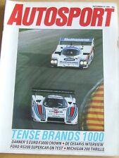 AUTOSPORT MAGAZINE SEP 1985 TENSE BRANDS 1000 DE CESARIS INTERVIEW FORD RS200