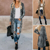 ZANZEA Women Autumn Casual Long Sleeve Cardigan Duster Leopard Print Trench Coat