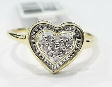 Right Hand Ring Band Pave Set Ladies Sale 10k Yellow Gold Diamond Promise Heart
