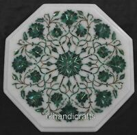Marble Bed Side Table Top Inlay with Malachite Stone Art Coffee Table Home Decor