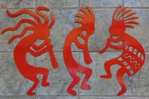 "Set of 3 Kokopelli Musicians Metal Wall Art Each 24"" Tall Bright Red Finish"