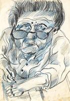 Giuseppe BEPPE SERAFINI (1915-1987) DIPINTO TECNICA MISTA SU CARTA AUTORITRATTO