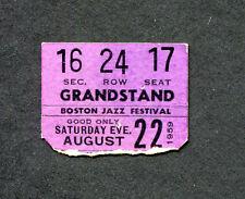 1959 First Annual Boston Jazz Festival Concert Ticket Stub Fenway Park Brubeck
