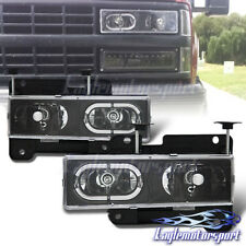 [LED Halo] 1988-1998 Chevy GMC Silverado C10 C/K Suburban Tahoe Headlights Pair