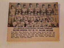 Ballwin Missouri & Mesa Arizona Community College 1972 Baseball Team Picture