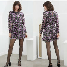 & Other Stories Rose Tailored Puff Ruffle Mini Dress Size 4 Floral Black Purple