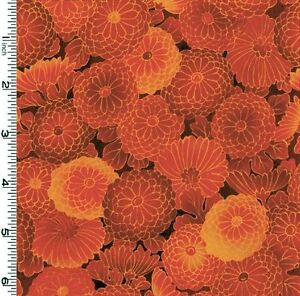 """47"""" Remnant Kona Bay Collette Rust/Red, Orangy-Coral Tones Floral Zinnias Fabric"""